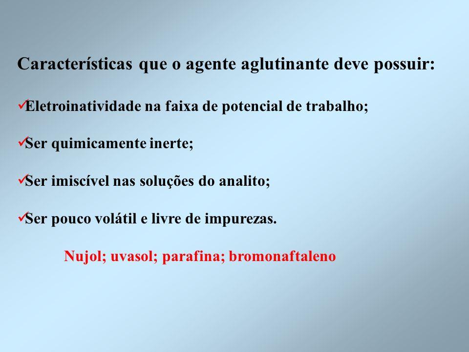 Características que o agente aglutinante deve possuir: