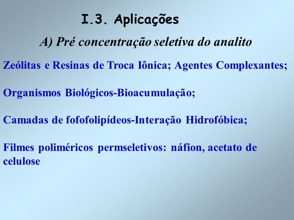 A) Pré concentração seletiva do analito