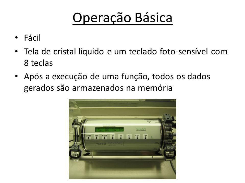 Operação Básica Fácil. Tela de cristal líquido e um teclado foto-sensível com 8 teclas.