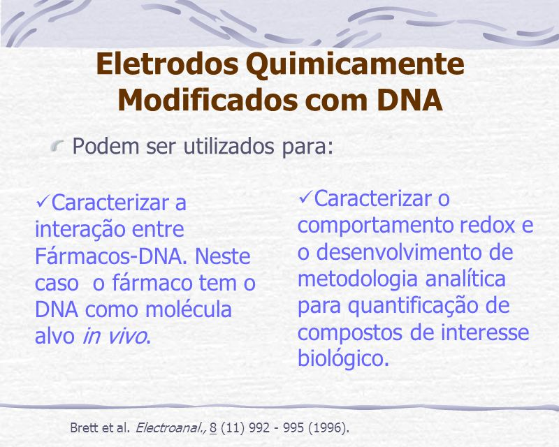 Eletrodos Quimicamente Modificados com DNA
