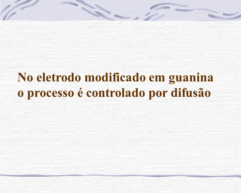 No eletrodo modificado em guanina o processo é controlado por difusão