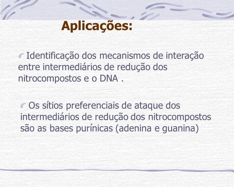 Aplicações: Identificação dos mecanismos de interação entre intermediários de redução dos nitrocompostos e o DNA .
