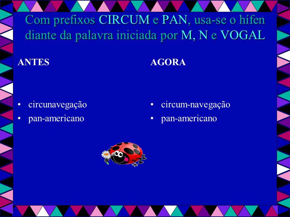 Com prefixos CIRCUM e PAN, usa-se o hífen diante da palavra iniciada por M, N e VOGAL