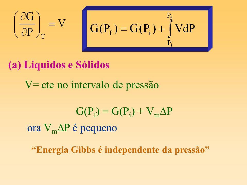V= cte no intervalo de pressão G(Pf) = G(Pi) + VmDP