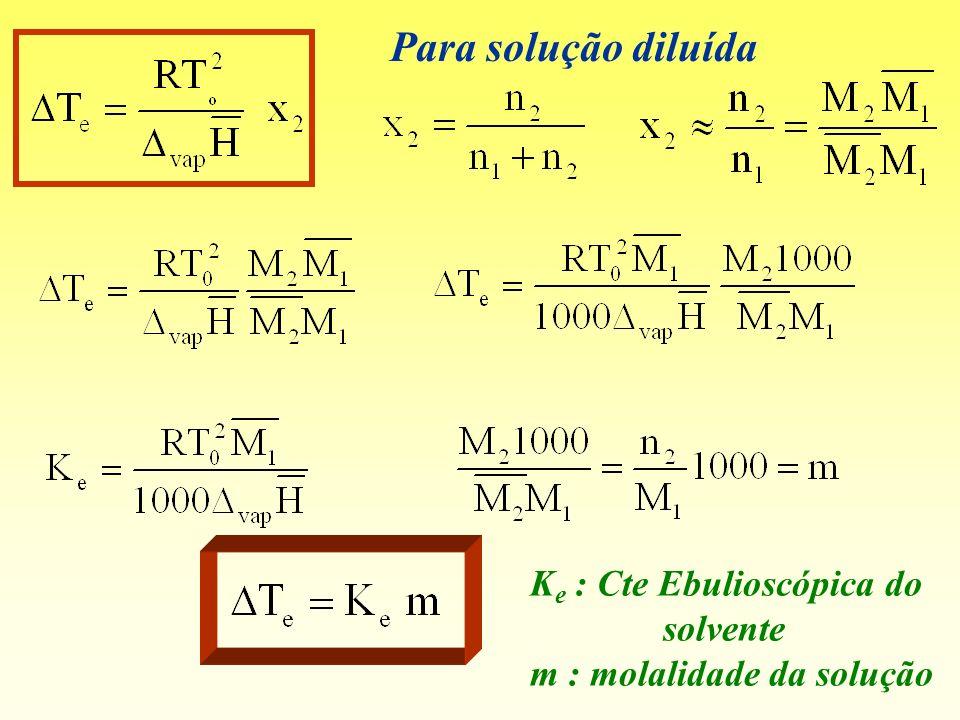 Para solução diluída Ke : Cte Ebulioscópica do solvente