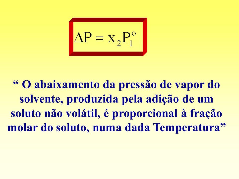 O abaixamento da pressão de vapor do solvente, produzida pela adição de um soluto não volátil, é proporcional à fração molar do soluto, numa dada Temperatura