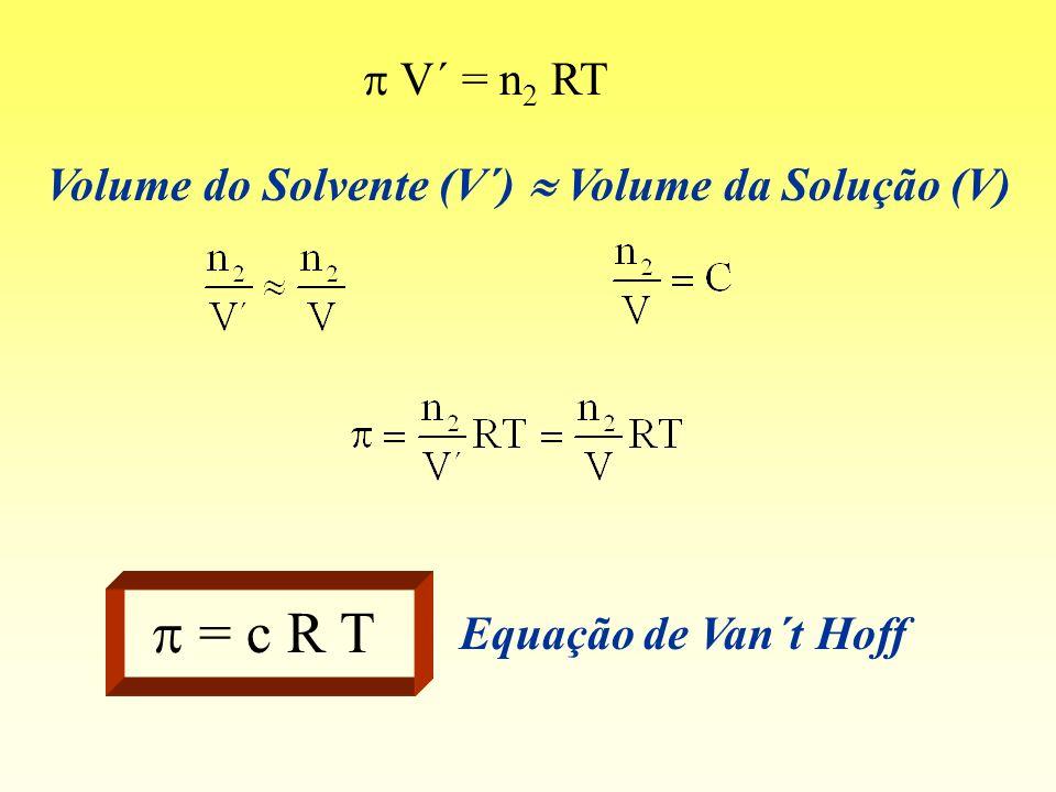 p = c R T p V´ = n2 RT Volume do Solvente (V´)  Volume da Solução (V)