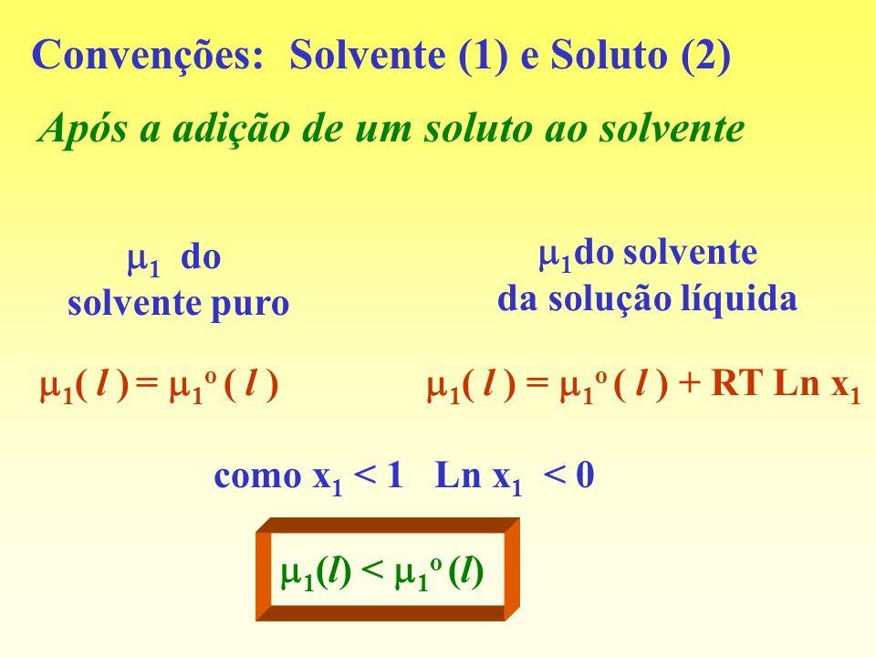 Convenções: Solvente (1) e Soluto (2)