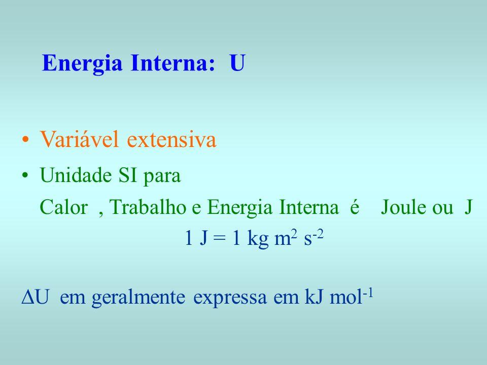 Energia Interna: U Variável extensiva Unidade SI para