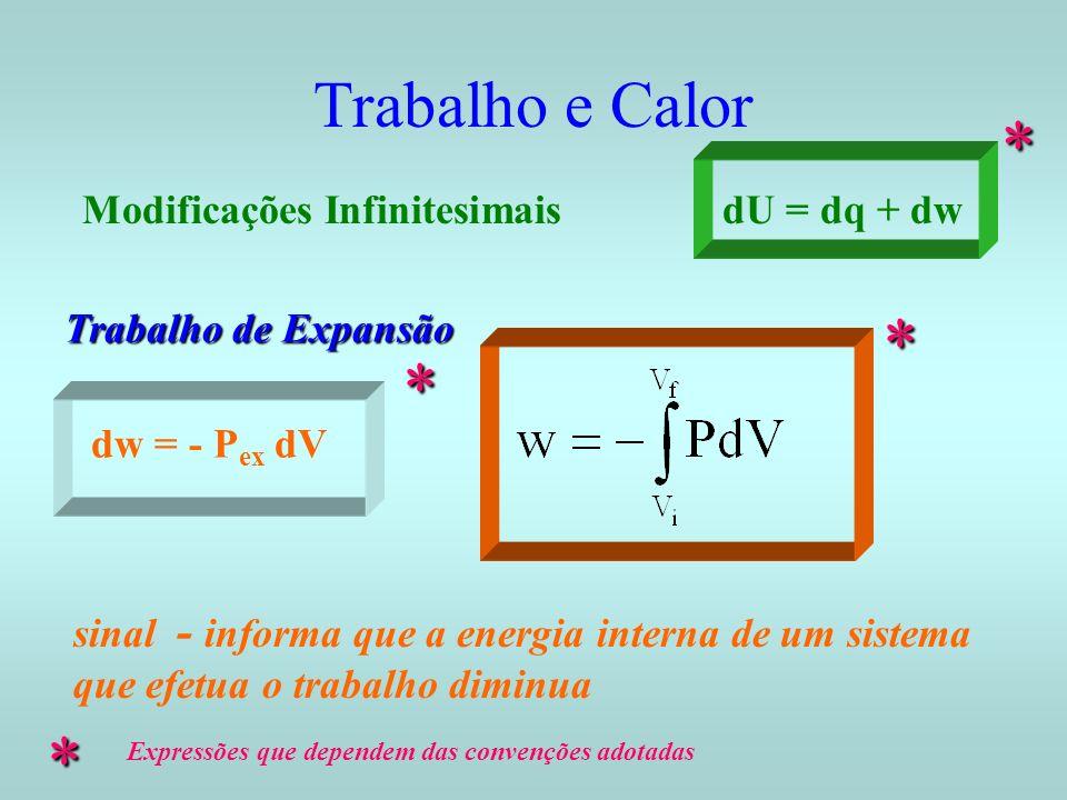 * * * * Trabalho e Calor Modificações Infinitesimais dU = dq + dw