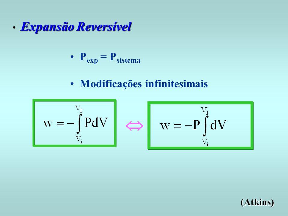  Pexp = Psistema Modificações infinitesimais Expansão Reversível