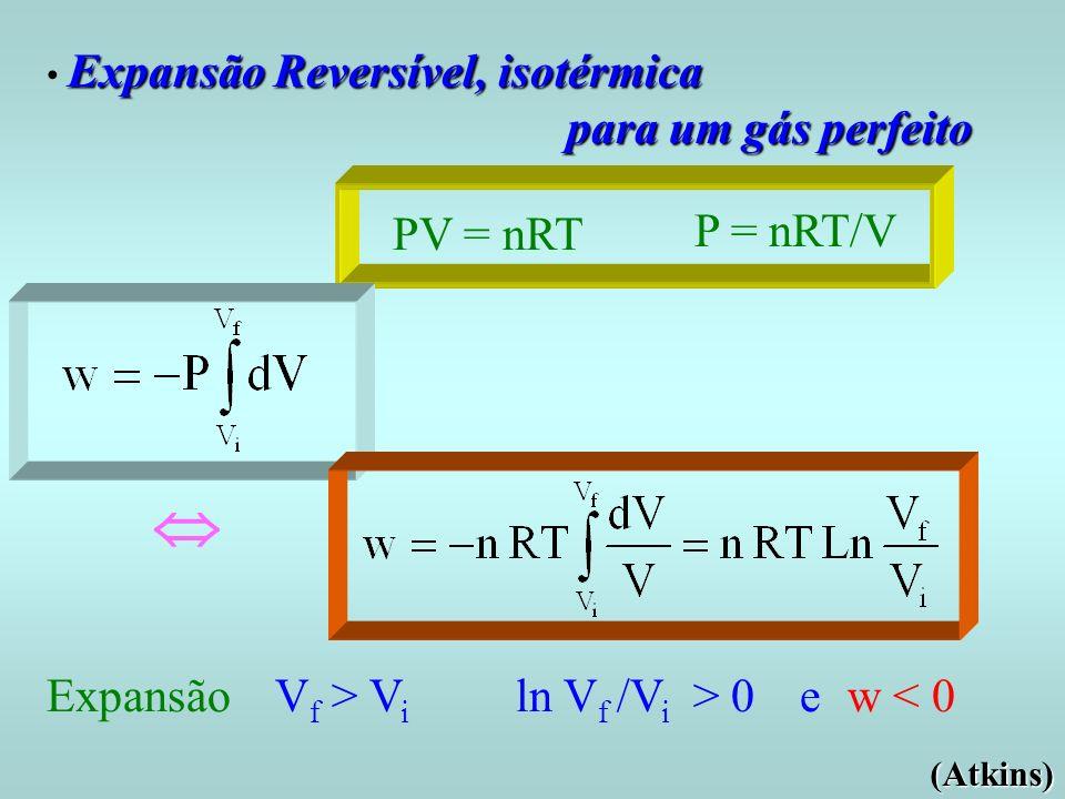  para um gás perfeito PV = nRT P = nRT/V