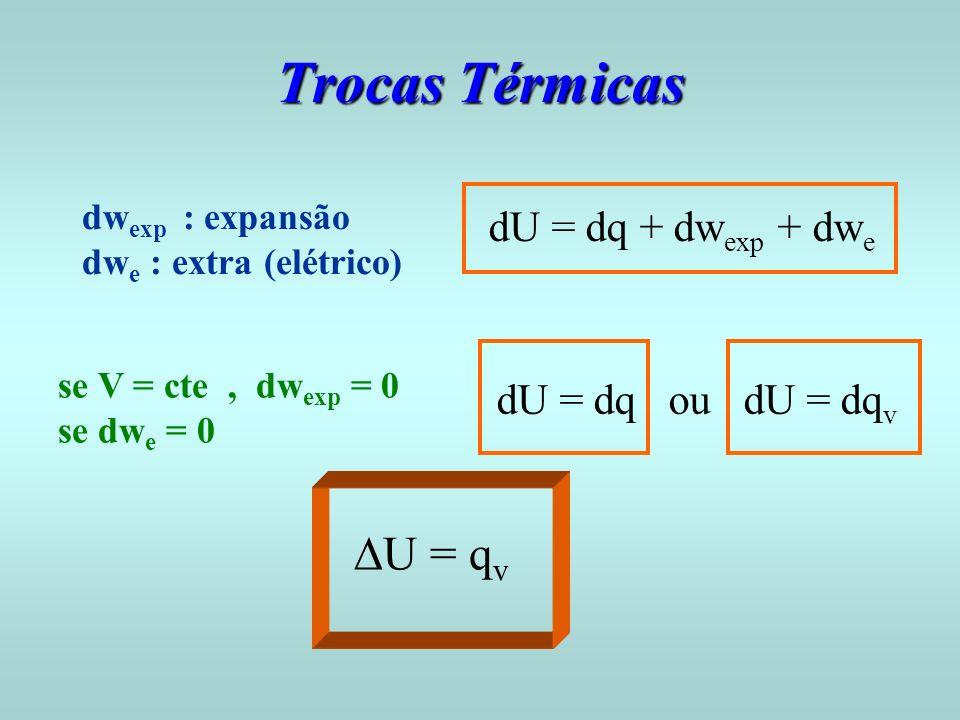 Trocas Térmicas DU = qv dU = dq + dwexp + dwe dU = dq ou dU = dqv