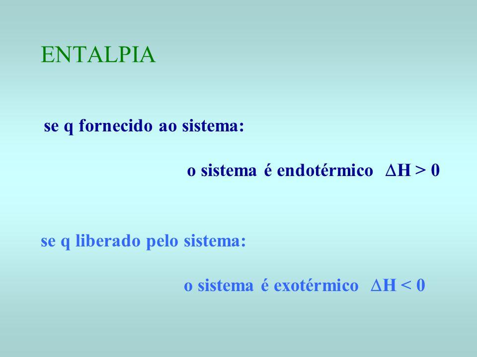 ENTALPIA se q fornecido ao sistema: o sistema é endotérmico DH > 0