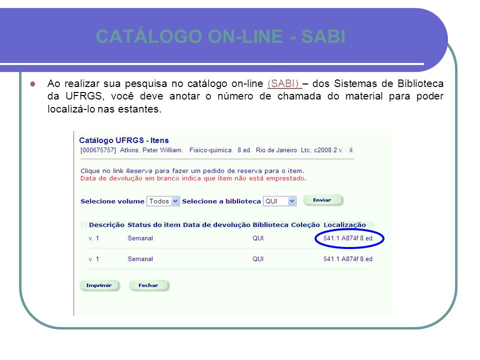 CATÁLOGO ON-LINE - SABI