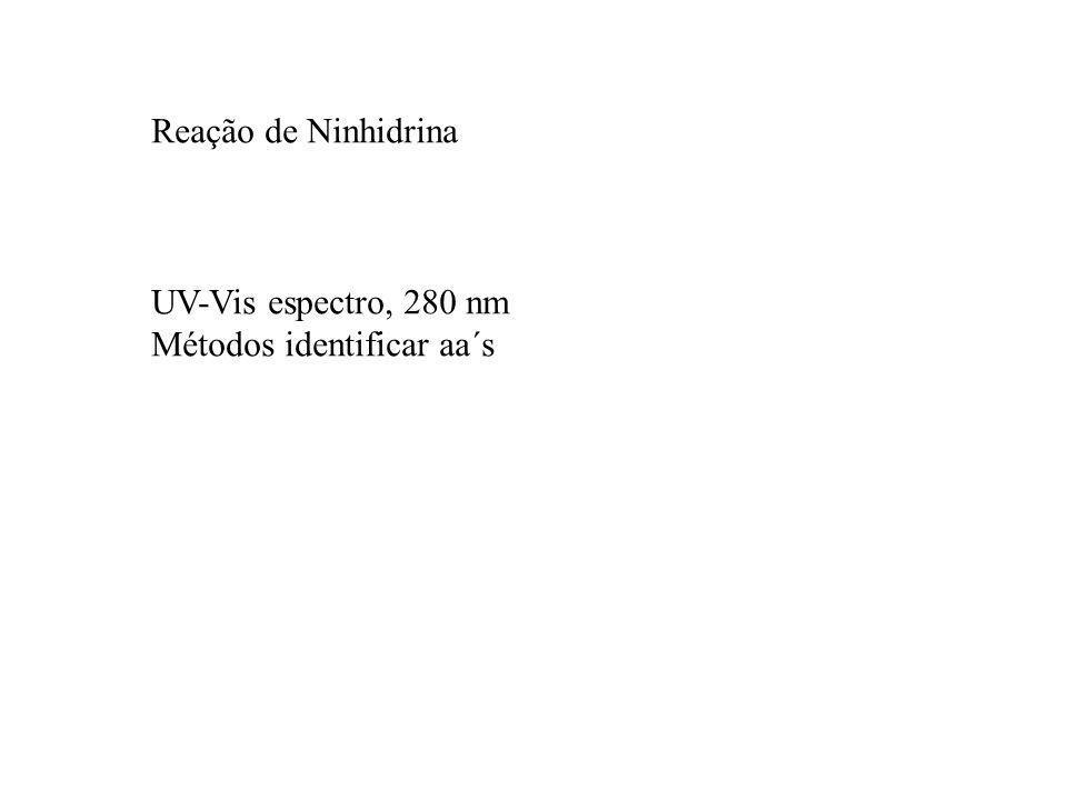 Reação de Ninhidrina UV-Vis espectro, 280 nm Métodos identificar aa´s
