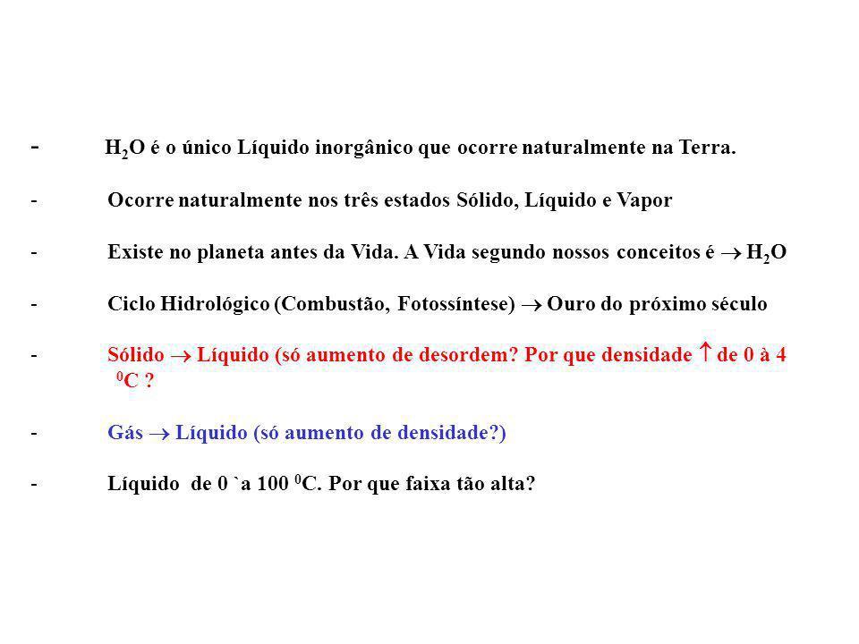 - H2O é o único Líquido inorgânico que ocorre naturalmente na Terra.