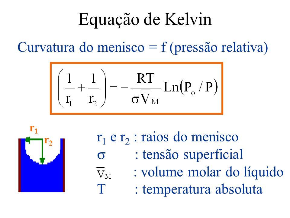 Equação de Kelvin Curvatura do menisco = f (pressão relativa)