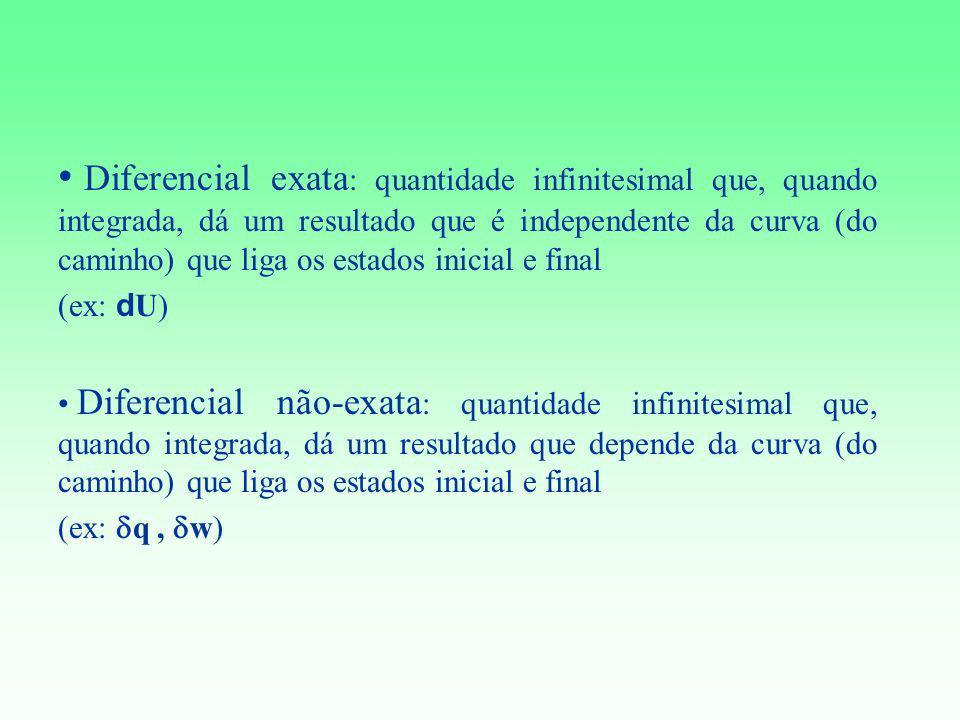 Diferencial exata: quantidade infinitesimal que, quando integrada, dá um resultado que é independente da curva (do caminho) que liga os estados inicial e final