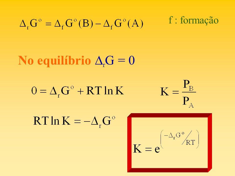 f : formação No equilíbrio DrG = 0