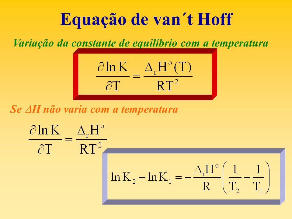 Equação de van´t Hoff Variação da constante de equilíbrio com a temperatura.