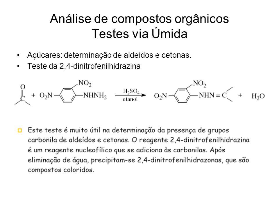 Análise de compostos orgânicos Testes via Úmida