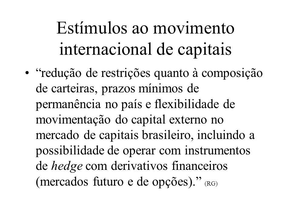Estímulos ao movimento internacional de capitais