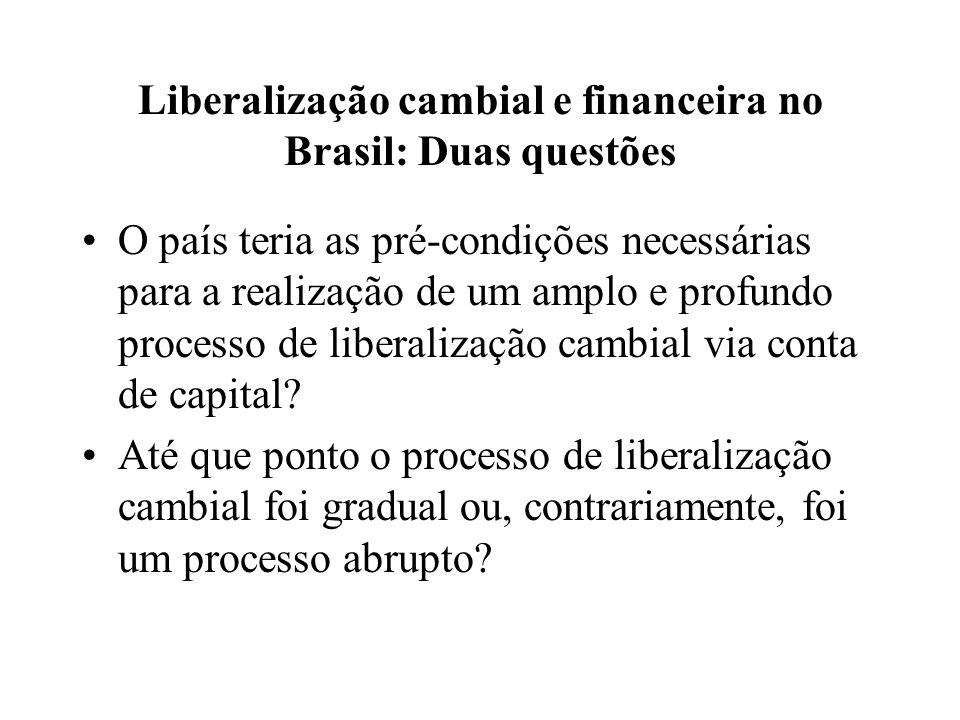 Liberalização cambial e financeira no Brasil: Duas questões