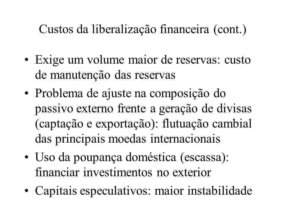 Custos da liberalização financeira (cont.)