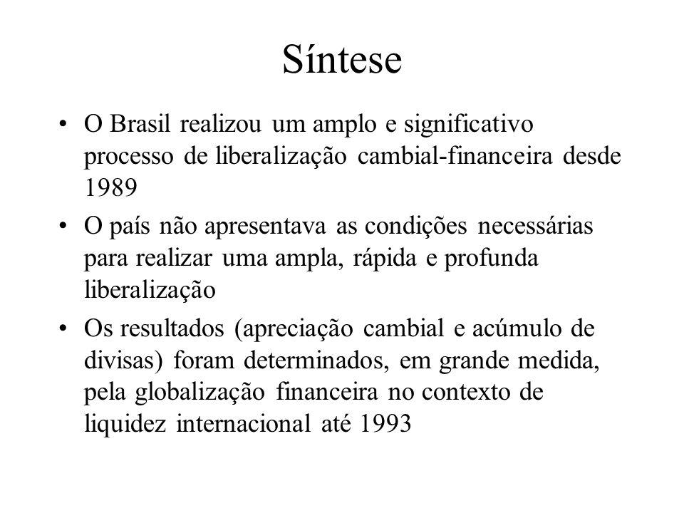 Síntese O Brasil realizou um amplo e significativo processo de liberalização cambial-financeira desde 1989.