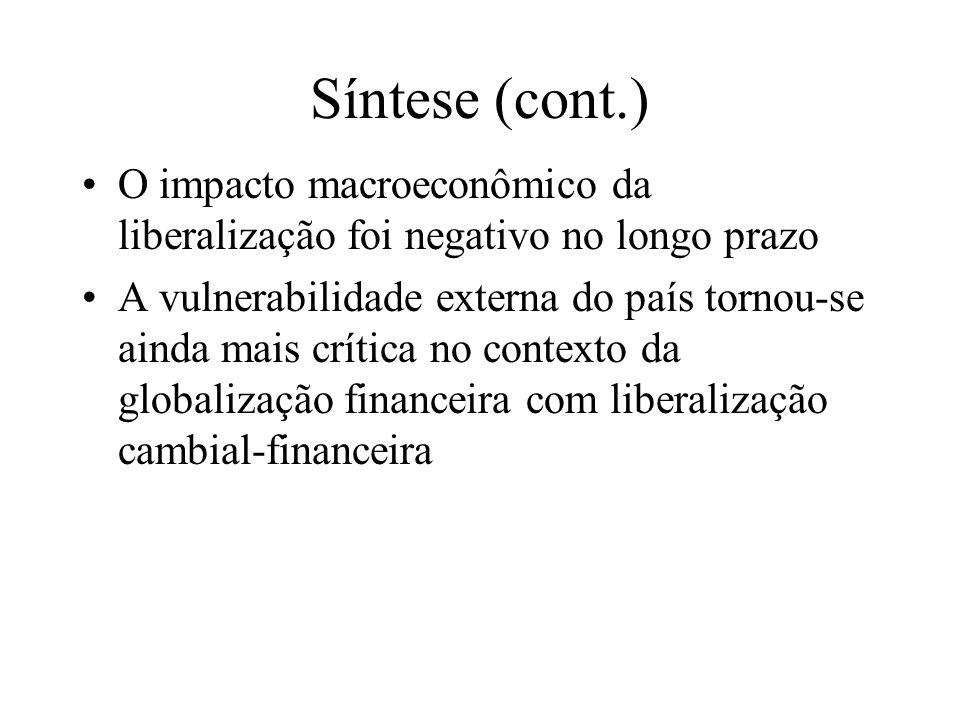 Síntese (cont.) O impacto macroeconômico da liberalização foi negativo no longo prazo.