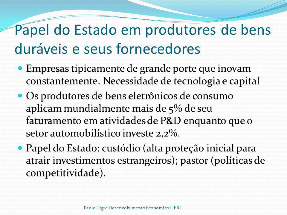 Papel do Estado em produtores de bens duráveis e seus fornecedores