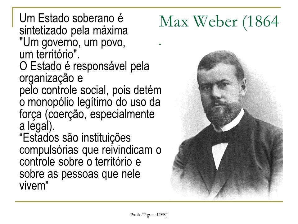 Max Weber (1864 – 1920) Um Estado soberano é sintetizado pela máxima Um governo, um povo, um território .