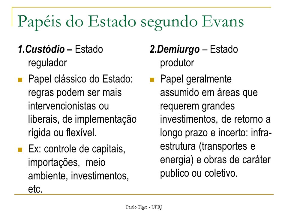 Papéis do Estado segundo Evans