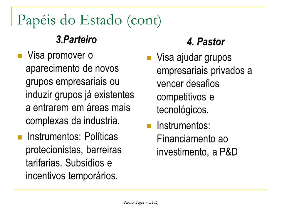Papéis do Estado (cont)
