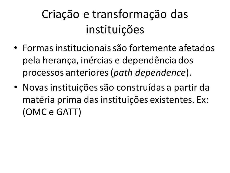 Criação e transformação das instituições