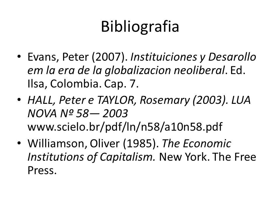 Bibliografia Evans, Peter (2007). Instituiciones y Desarollo em la era de la globalizacion neoliberal. Ed. Ilsa, Colombia. Cap. 7.