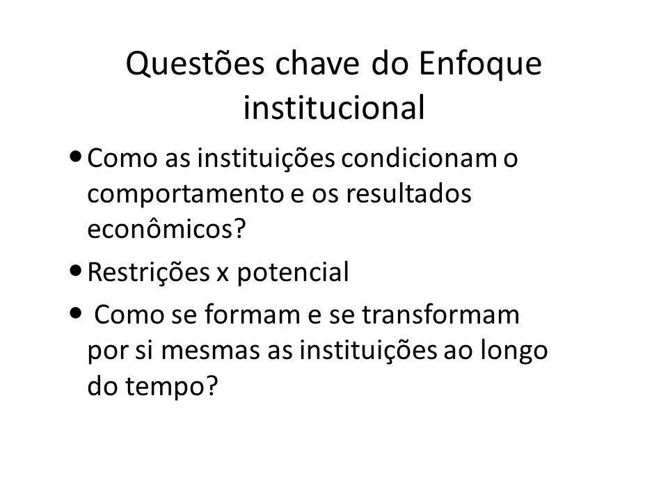 Questões chave do Enfoque institucional