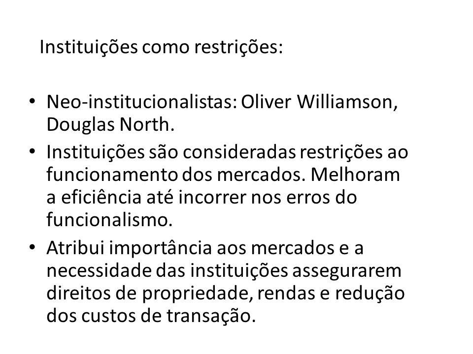 Instituições como restrições: