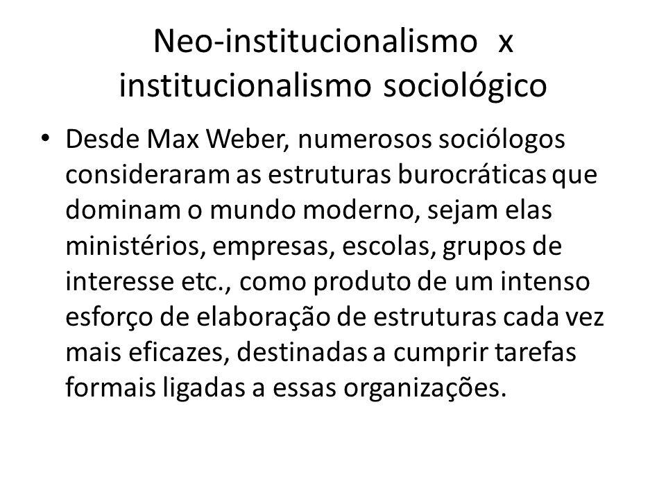 Neo-institucionalismo x institucionalismo sociológico