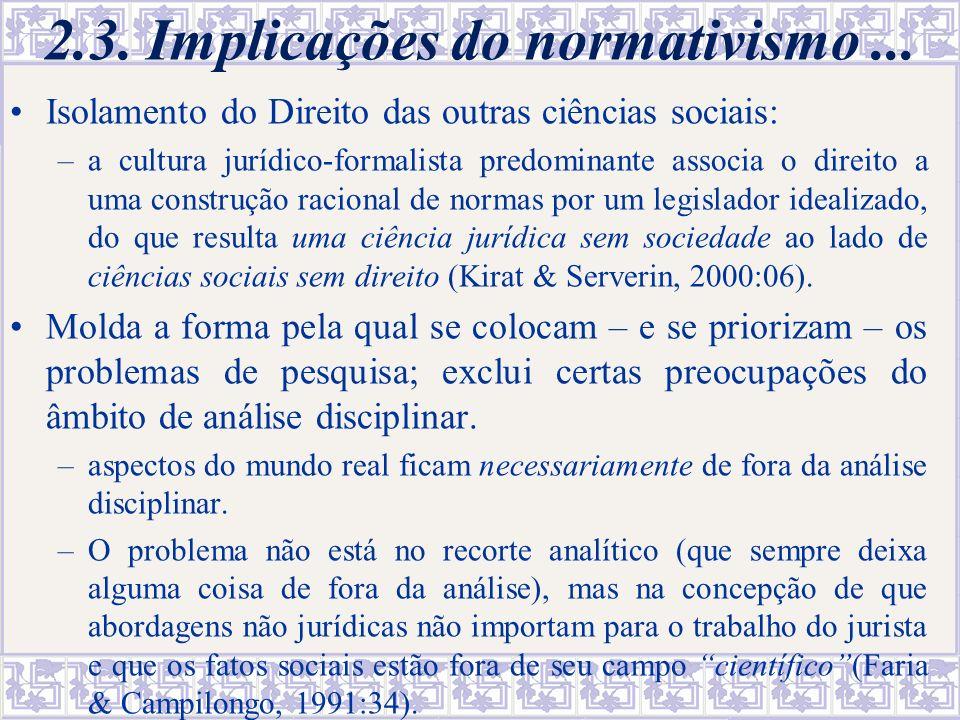 2.3. Implicações do normativismo ...