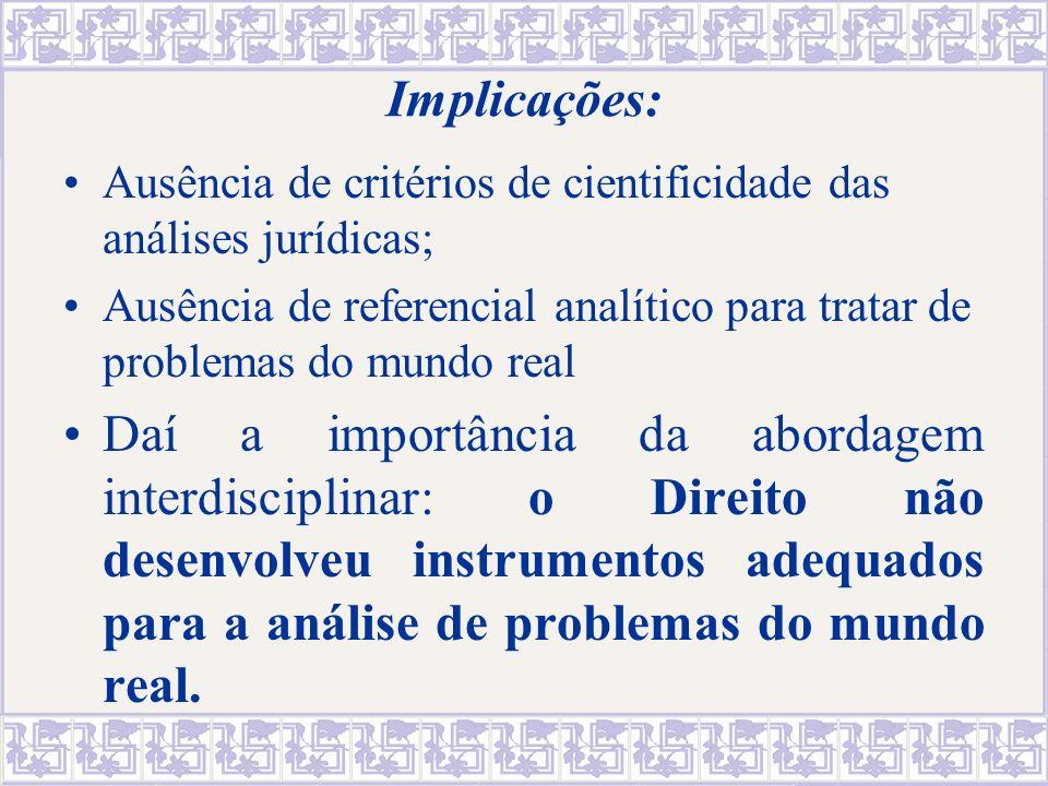 Implicações: Ausência de critérios de cientificidade das análises jurídicas;