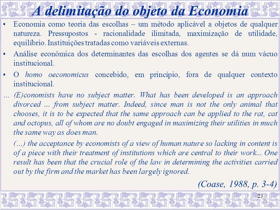 A delimitação do objeto da Economia