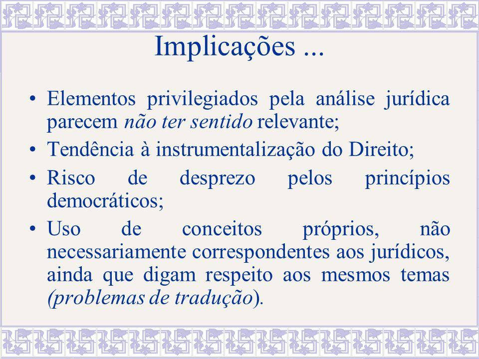 Implicações ... Elementos privilegiados pela análise jurídica parecem não ter sentido relevante; Tendência à instrumentalização do Direito;