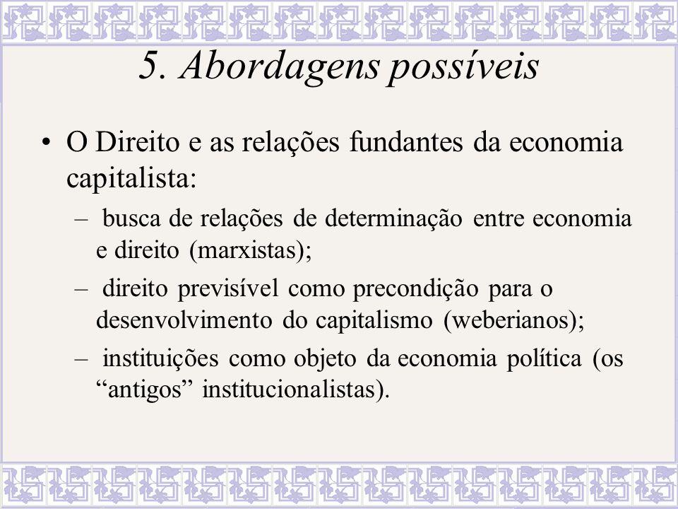 5. Abordagens possíveis O Direito e as relações fundantes da economia capitalista: