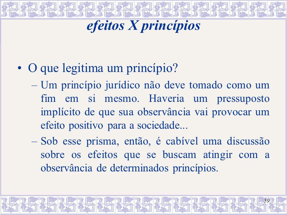 efeitos X princípios O que legitima um princípio
