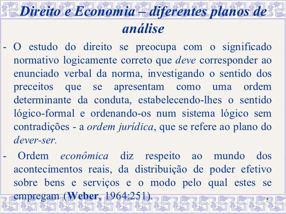 Direito e Economia – diferentes planos de análise
