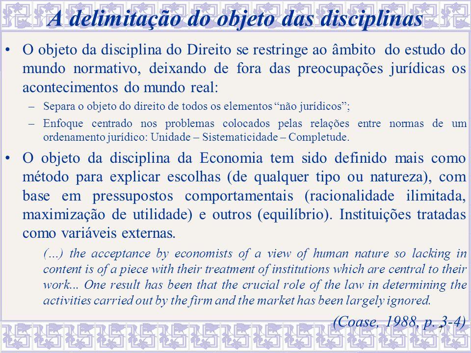 A delimitação do objeto das disciplinas