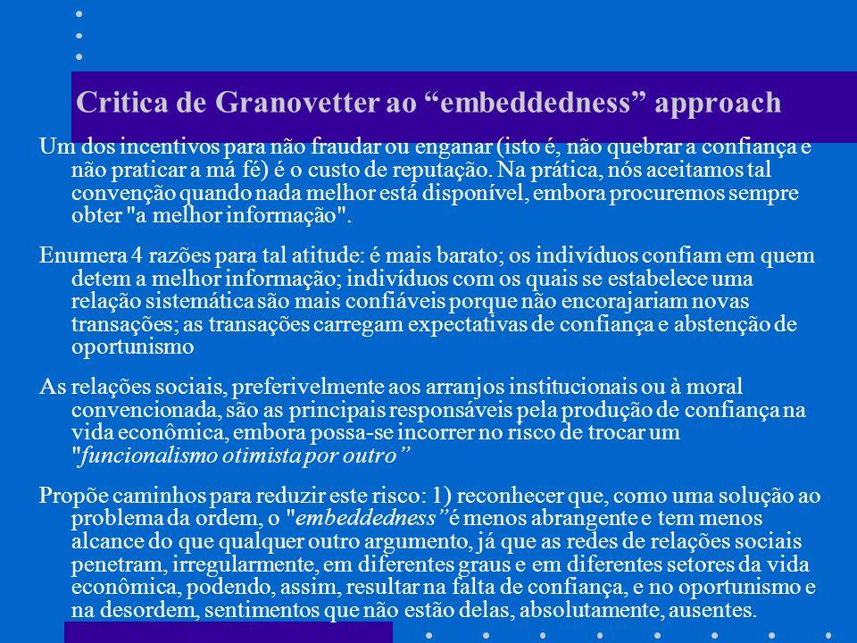 Critica de Granovetter ao embeddedness approach