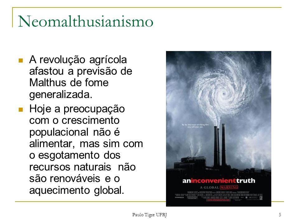 Neomalthusianismo A revolução agrícola afastou a previsão de Malthus de fome generalizada.